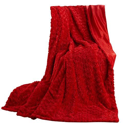 CelinaTex Florenza Kuscheldecke XXL 200 x 220 cm rot Mikrofaser Tagesdecke kuschelig Flauschige Plüschdecke Wohndecke