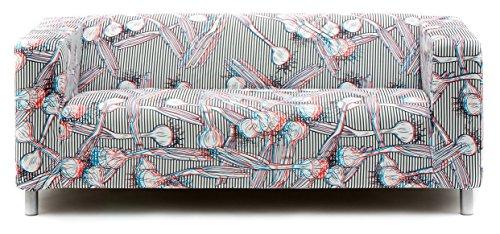 Artefly Klippan Sofabezug Design STEREO mit Kissen Bezug passend für Ikea Klippan Zweisitzer