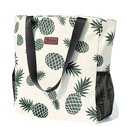Original Water Resistant Large Tote Bag for Gym Beach Travel, Upgraded, White, Pineapple