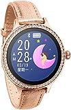 GANG Smart Watch Women Fitness Pulsera Actividad Tracker Ritmo Cardíaco Monitor Sports Sports Reloj Inteligente para Las Mujeres Fácil de Usar-Sier Exclusivo/Leather Gold