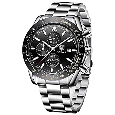 BENYAR - Stylish Wrist Watch for Men, Genuine Stainless Steel Strap Watches, Perfect Quartz Movement, Waterproof and Scratch Resistant, Analog Chronograph Business Watches, Best Mens Gift.