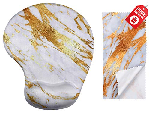 Gold Streak Marble Ergonomic Design Mouse Pad with Wrist Support. Gel Hand Rest. Matching Microfiber Cleaning Cloth for Glasses, Cars & Electronics. Pretty Mouse Pad for Laptop, PC Computer & Mac.