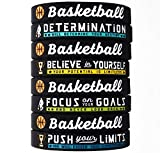 (12-Pack) Basketball Bracelets with Motivational Sports Quotes - Wholesale Pack of 12 Silicone Rubber Wristbands for Bulk Basketball Team Gifts and Party Favors - Unisex for Boys Girls Men Women