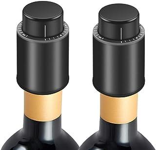Guiseapue Weinflaschenverschlüsse, Champagnerverschlüsse,Vakuum-Weinkonserven mit Zeitskala, Wein korken frisch halten, bestes Geschenk für Weinliebhaber 2er Pack