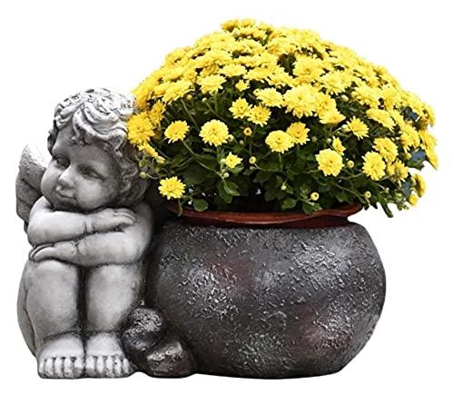 LIUBINGER Escultura Escultura de la Estatua de Buda, óxido de magnesio Buda Cabeza artesanía artesanía jardín Planta Planta en Maceta contenedor Adorno decoración H36cm Manualidades