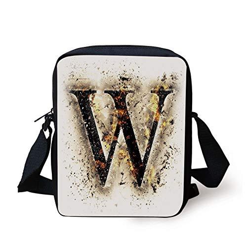 Letter W,W Symbol on Fire Scorched Blurry Background Heat Image Smoke Design Print,Tan Black Orange Print Kids Crossbody Messenger Bag Purse
