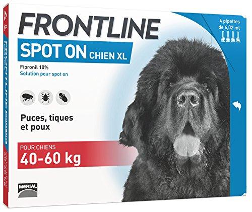 FRONTLINE Spot-on Chien - Anti-puces et anti-tiques pour chien - 40-60kg - 4 pipettes