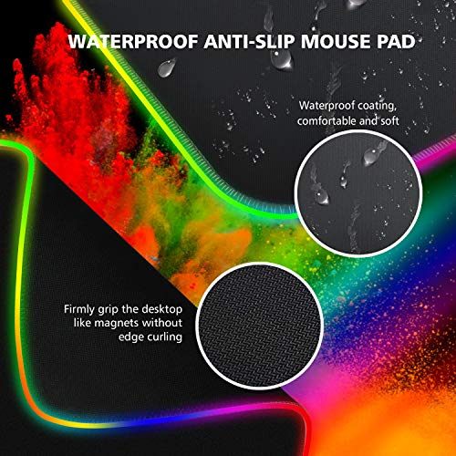 RAGZAN RGB Gaming Mauspad XXL-Mousepad mit 7 LED Farben 14 Beleuchtungs Modi Mouse Pad Computertastatur Maus Pad mit Wasserdichter, Rutschfester Gummibasis für Spiele, Computer, PC- 800 × 300 ×4 mm - 3