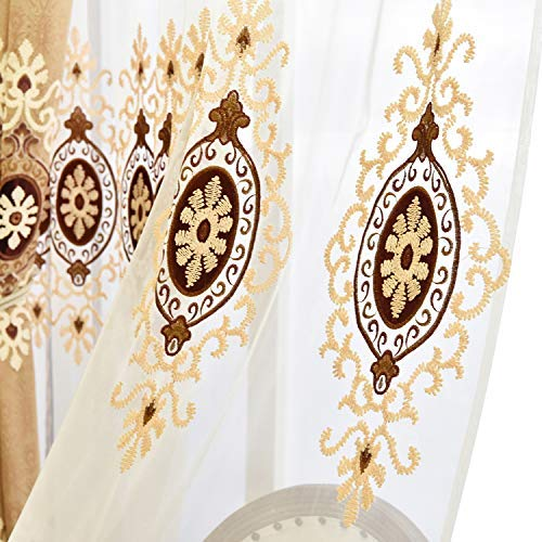 VOGOL Customized Simple Chenille Jacquard Sheer Window Elegance Curtains/Drapes/Panels/Treatments for Bedroom Living Room,Top Grommets(2 Panels)