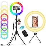 12 Zoll RGB Selfie Ringlicht mit Fernbedienung 148cm Stativ & Handyhalter AILUKI LED Ringleuchte Dimmbarer Kreislichtring für Make-up/Live-Stream/YouTube/Tiktok/Vlog/Fotografie für iPhone/Android