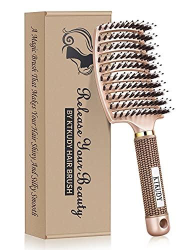 KTKUDY Detangling Brush Boar Bristles Hair Brush Curved and Vented Speed Dry Detangler Brush for Women Men Kids Wet and Dry Hair (Rose Gold)