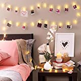 Photo Clip String Lights (16.4ft), 40 LED & Remote, Battery Powered – Gift for Teen Girl – Cute Teenage VSCO Stuff as Room Decor – Warm White Fairy Lights for Bedroom – Unique Dorm Decoration