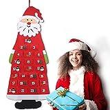 Gxhong Calendario Dell'Avvento Babbo Natale, Calendario dell'avvento in Feltro con 24 Tasche da riempire, Calendario per Conto alla rovescia di Natale Decorativo Accessori per Feste- Rossa