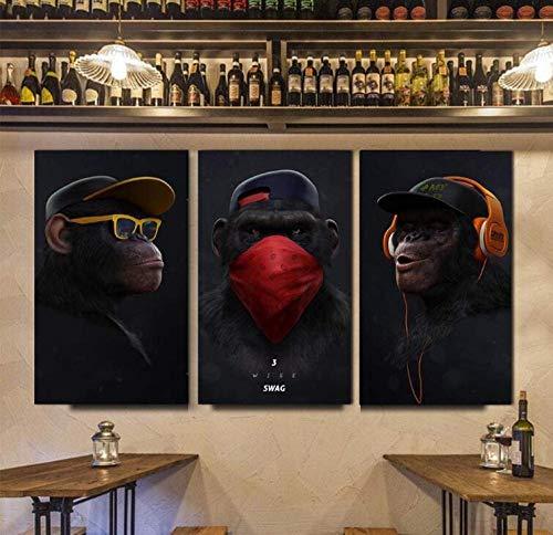 Honony Animal Mono Divertido Cuadro Lienzo Pintura Impresa Sala de Estar Moderno Arte de la Pared Cartel decoración del hogar-60 * 80 * 3_con_Marco