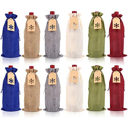 FINGOOO - Bolsas de yute para botellas de vino, 12 piezas, bolsas de arpillera con etiquetas de regalo para bodas, Navidad, cumpleaños, fiestas de vacaciones