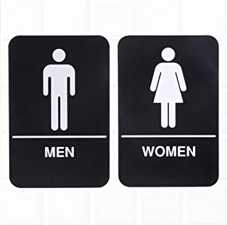 Set of 2 ADA Restroom Signs with Braille, Men/Women Restroom Signs - Black and White, 9 x 6-inches ADA Compliant Bathroom Signs Door/Wall by Tezzorio