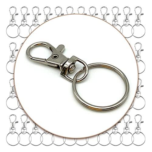 100 ganchos giratorios con llavero, clips y anillos para hacer joyas, manualidades, cierres giratorios para proveedores, accesorios para hacer joyas (50 ganchos para llavero y 50 llaveros)