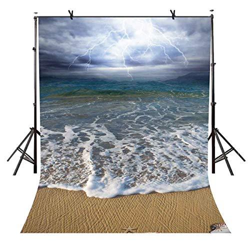 EdCott 5x7ft Surf Beach Backdrop Surf Beach Thunder Fotografía de Fondo y Estudio Fotografía Backdrop Props LYXC098
