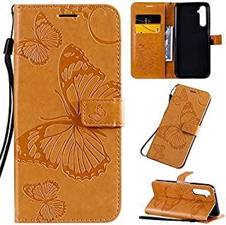 Yhuisen Butterfly Flower Floral Pattern PU Leather Wallet Stand Case with Wrist Strap for OPPO Realme 6 Pro (Color : Yellow)