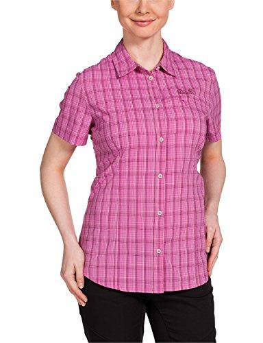 Jack Wolfskin Damen Bluse Centaura Stretch Vent Shirt, Pink Hortensia Checks, S, 1401621-7556002