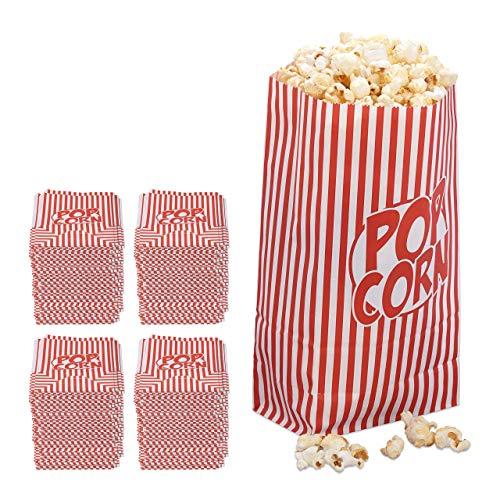 576x popcorn zakjes, papier, accessoire filmavond, kinderverjaardag, retro zakken voor popcorn, rood-wit