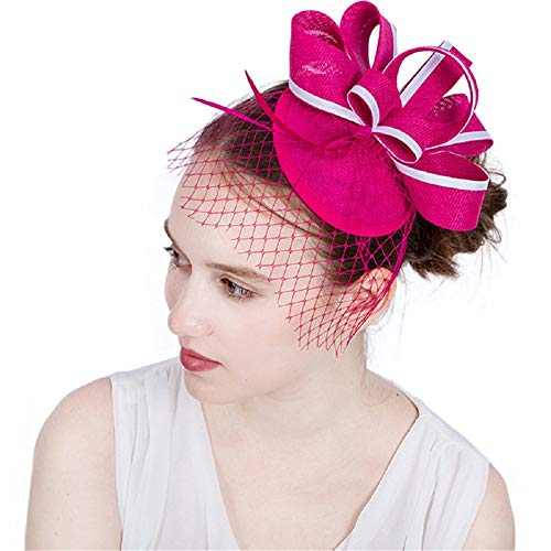 Liuxiaomiao Fascinator Sluier-cocktail dames fascinators hoed haarspeld bruiloft kopware bruid cilinderhoed jaren 20 hoofdtooi voor meisjes en dames bruid huwelijk haarsieraad