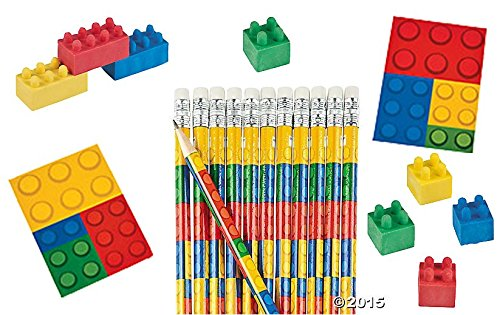 Value Pack of 36 Color Brick Blocks - Assorted Notepads, Pencils and Erasers