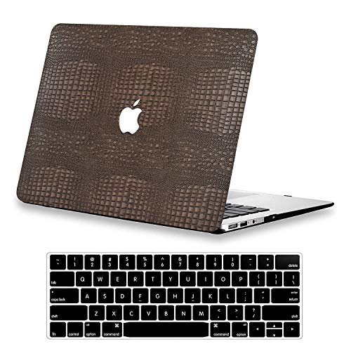 KEROM MacBook Pro 13 inch Case 2020 2019 2018 2017 2016 Release A2338 M1 A2289 A2251 A2159 A1989 A1706 A1708, Crocodile Skin PU Leather Business Hard Case & Keyboard Cover for MacBook Pro 13, Brown