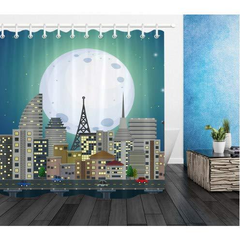 SFSDF Cortina de Ducha City Night View Moon Baño Cortina de Ducha Impermeable de Tela de poliéster 180X200cm con Gancho