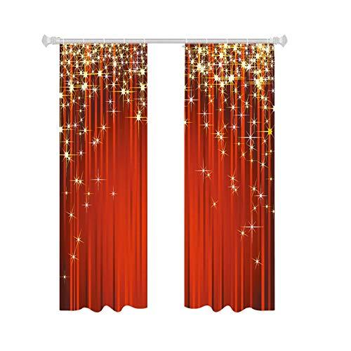 iBaste 2PCS Gardinen Blickdicht Vorhang Schlafzimmer Vorhänge Blickdicht Weihnachtsvorhänge Halbbeschattender Sonnenfester Polyestervorhang