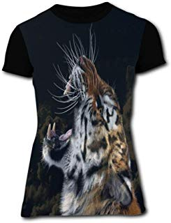 Roaring Tiger Black Simple and Chic Women Short Sleeve Round Top for Summer