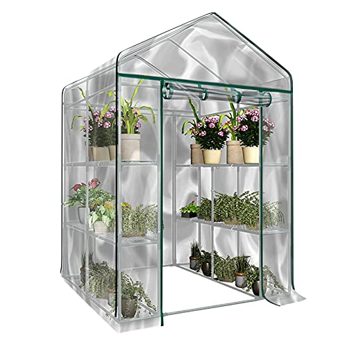 Mini Greenhouse With Transparent Plastic PVC Cover, Indoor Outdoor Tent Garden Greenhouse With Transparent Plastic PVC Cover Seedlings, Herbs, Or Flowers In Any Season-Gardening Rack