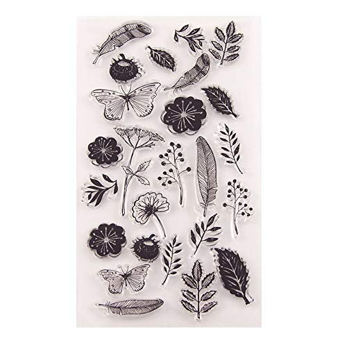 Stempel mit Blumen, Blättern, Federn, Löwenzahn, aus Gummi, transparent, für Scrapbooking, Fotoalben, dekorative Karten