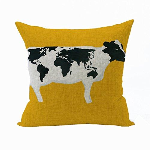 Nunubee Animal Cotton Pillowcase Linen Soft Home Square Bed Decorative Pillow Cover Cow