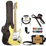 Sawtooth Citron Vanilla Cream Electric Guitar w/White Pickguard - Includes: Accessories, Gig Bag & Lesson