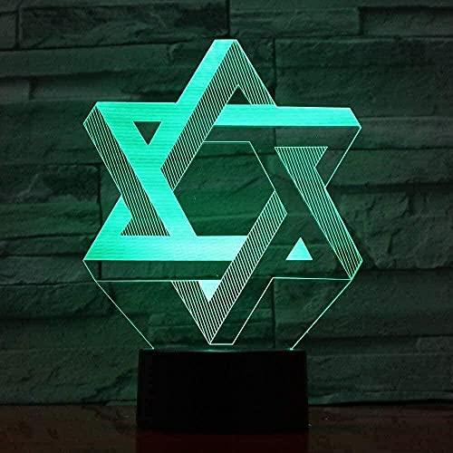 Presentación de diapositivas 3D creativo 7 colores degradados atmósfera visual 3d geométrico hexagonal luz de noche LED USB escritorio placa de oreja ligera decoración del hogar