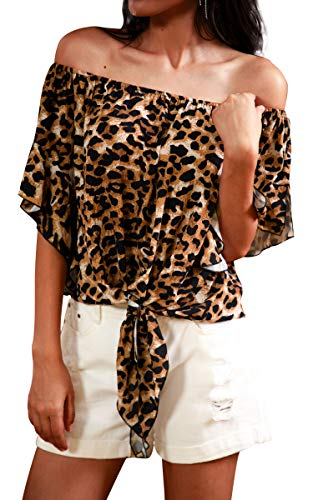 Hibluco Women's Fashion Off Shoulder Tops Sexy Floral Print Crop Tops Brown Leopard