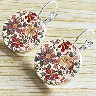 Vintage Retro Women Glass Round Chrysanthemum Flower Ear Stud Pierced Earrings (Silver)