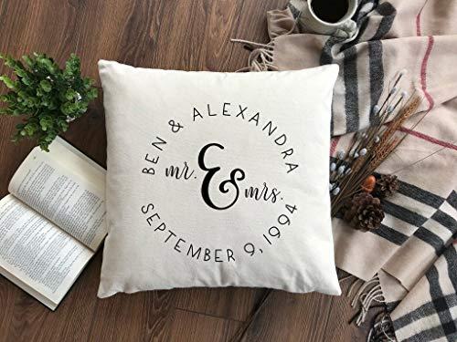 'N/A' Funda de almohada personalizada con nombres y fecha de boda Mr and Mrs. Funda de almohada personalizada regalo de boda fecha