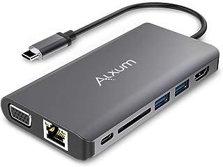Alxum USB C Hub 8 en 1, avec 2 Ports USB 3.0, Gigabit Ethernet, HDMI 4K à 30Hz, VGA, USB C PD 100W, 2 Hub USB 3.0, Lecteur...