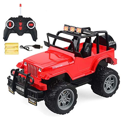 FomCcu 4CH Coche de control remoto Off Road Recargable Camión eléctrico RC Vehículo Modelo de juguete 1:18 (rojo)
