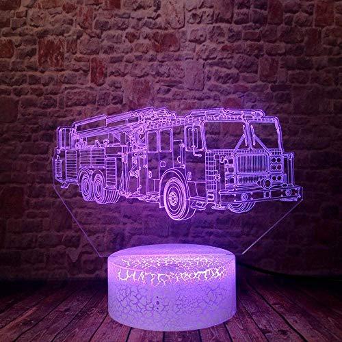 ilusión 3D Lámpara de luz nocturna Fire top light truck firefighter luz nocturna remoto para sala de estar, bar, regalo juguetes para niños y niñas Con interfaz USB, cambio de color colorido