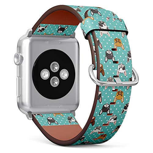 French Bulldog on Turquoise Polka dot Background - Patterned Leather Wristband Strap Compatible with Apple Watch Series 4/3/2/1 38mm/40mm