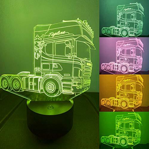 Luz nocturna 3D con diseño de tractor y camión, 7 colores, interruptor táctil, ilusión nocturna, para dormitorio, hogar, boda, cumpleaños, San Valentín