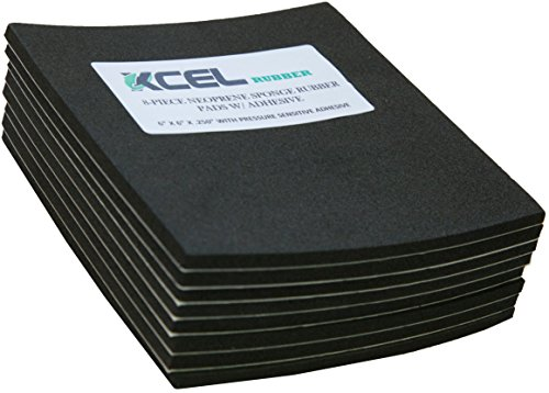 XCEL Value Pack, Neoprene Foam Anti Vibration Pads with Adhesive 6' X 6' X 1/4', Made in USA (8 Pieces)