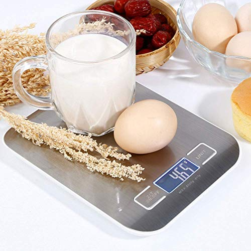 Digital kitchen scale made of stainless steel, ultra-thin design, high-precision precision multi-function electronic scale, with backlit LCD display, for home office (5Kg / 11Lb)
