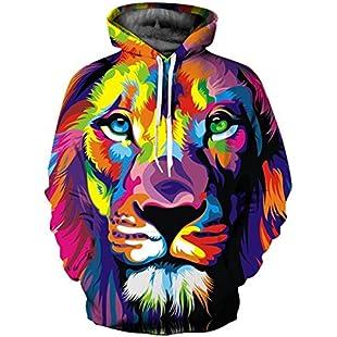 Klassischer Art-Art- und Weise3d Hoodies Männer/Frauen bunter Löwe-Sweatshirts 3d Druck mit Kapuze Hoodies Trainingsanzüge Hoody, XXXL