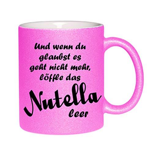 Crealuxe glittermok (roze) en als je gelooft het gaat niet meer lepel het Nutella leeg. - Koffiemok, bedrukte mok met spreuken of foto's, bureaumok,