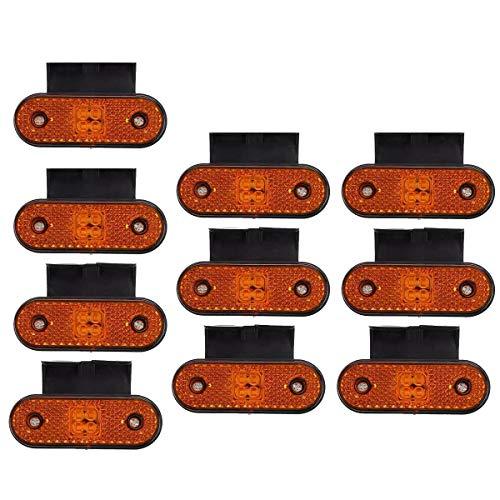 Mogzank 10 Piezas 24V LED Luces de PosicióN Laterales de CamióN Coche LáMpara de SeeAl Giro Luz Trasera Trasera para Camioneta Remolque Caravana AutobúS Barco VehíCulo Recreativo CamióN