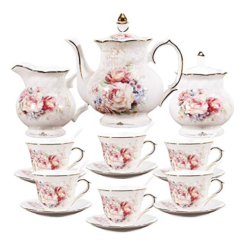 fanquare 15 Pieces Porcelain English Tea Set,Floral Coffee Set for Adults,Ceramic Vintage Tea Sets for Women